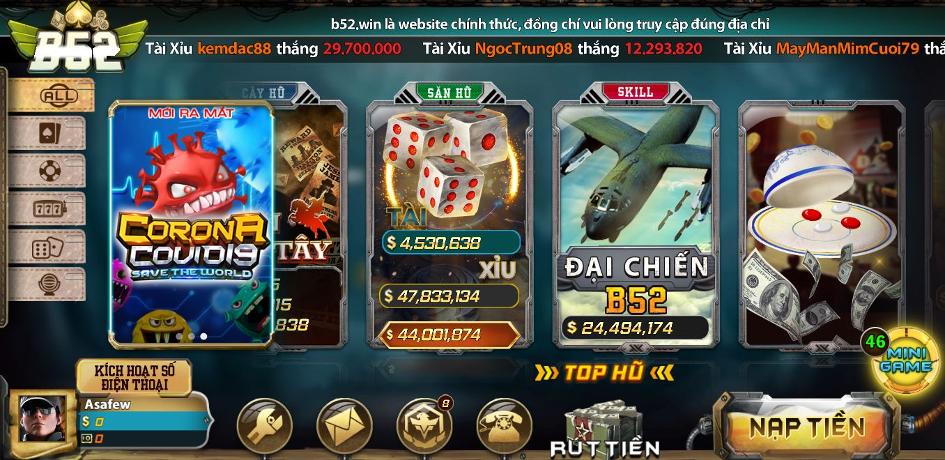 Link vao Game B52 tren Android vs IOS